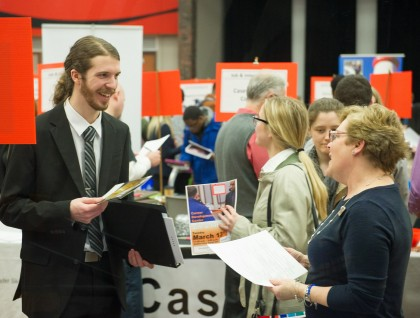 Student and employer at job fair